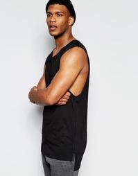 Длинная футболка без рукавов с заниженными проймами ASOS - Черный