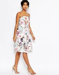 Платье миди с укороченным лифом и цветочным принтом ASOS - Мульти