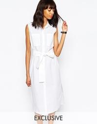Платье-рубашка с завязкой спереди Monki - Белый