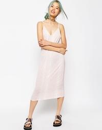 Платье-комбинация миди со змеиным рисунком ASOS - Розовый