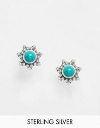 Серебряные серьги-гвоздики с камнем Reclaimed Vintage - Серебряный