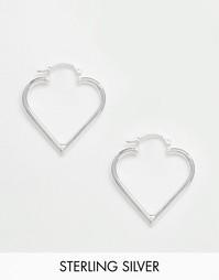 Серьги-кольца в виде сердец из чистого серебра Reclaimed Vintage