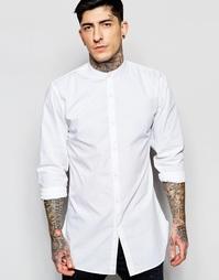 Удлиненная белая рубашка из хлопка с воротником на пуговице Lindbergh