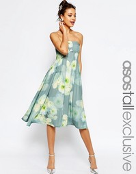 Платье-бандо миди с цветочным принтом ASOS TALL SALON - Мульти