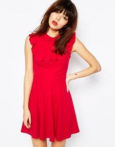 Короткое приталенное платье из ткани понте с воротником и оборкой ASOS