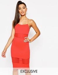 Платье на тонких бретельках с сетчатой вставкой NaaNaa - Оранжевый