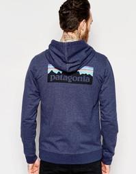 Худи классического кроя с принтом сзади Patagonia - Темно-синий