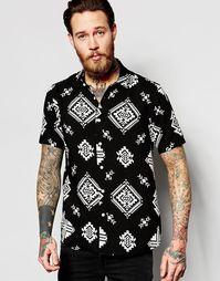 Черная классическая рубашка с короткими рукавами и ацтекским принтом A Asos
