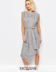 Платье с завязкой спереди House of Sunny - Серый меланж