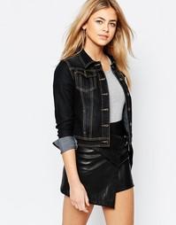 Черная укороченная джиновая куртка Boohoo - Черный