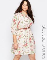 Платье с ремешком и цветочным принтом Yumi Plus