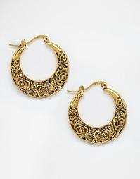 Серьги-кольца с цветочной отделкой Reclaimed Vintage - Золотой