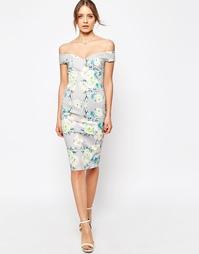 Платье-футляр с открытыми плечами и цветочным принтом ASOS - Мульти