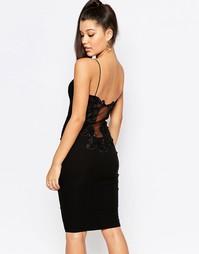Платье миди с кружевной спинкой Rare London - Черный