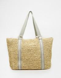 Большая пляжная сумка-шоппер из рафии с подкладкой Nali