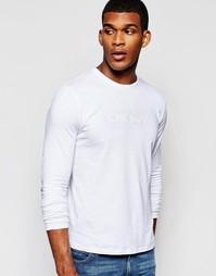Лонгслив с прорезиненным принтом DKNY - Белый