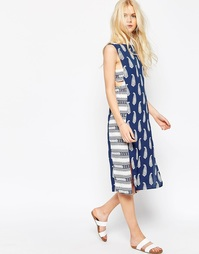ASOS Midi Dress in Mixed Print with Tab Side Detail - Мульти