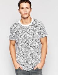 Oversize-футболка с эффектом брызг краски Jack & Jones - Белый