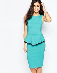 Платье миди с баской и контрастной отделкой Vesper Sophie - Мятный