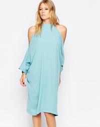 Платье миди с открытыми плечами Liquorish - Aqua
