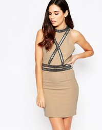 Платье мини с перекрестной отделкой спереди Liquorish - Телесный