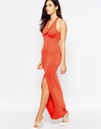 Платье со свободным воротом Love - Красно-бурый