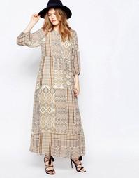 Платье макси с длинными рукавами и принтом Only - Мульти