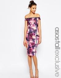 Облегающее платье с цветочным принтом ASOS TALL SALON - Мульти