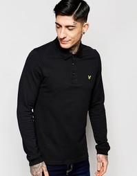 Черная футболка‑поло с длинными рукавами и логотипом Lyle & Scott