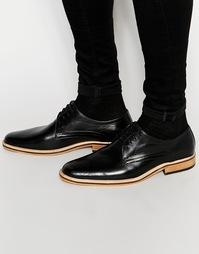 Светло-коричневые кожаные туфли со шнуровкой Dune - Черный