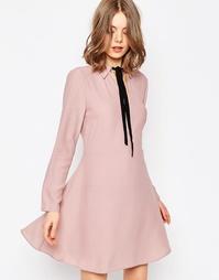 Платье-рубашка с контрастным галстуком ASOS - Сиреневый