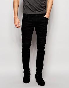 Черные супероблегающие джинсы из селвидж‑денима плотностью 13 унций AS Asos