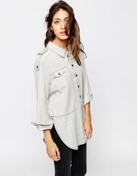 Серая джинсовая выбеленная рубашка в стиле милитари ASOS