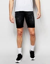 Джинсовые шорты с брызгами краски Hero's Heroine - Черный