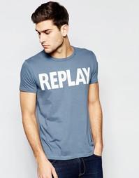 Синяя футболка с круглым вырезом и принтом логотипа Replay - Синий