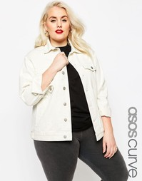 Белая джинсовая куртка ASOS CURVE Girlfriend - Бежевый