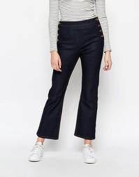 Укороченные джинсы с пуговицами по бокам Monki - Темный синий