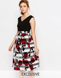 Платье миди 2 в 1 с V-образным вырезом Closet - Черный цветочный принт