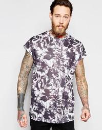 Oversize-футболка без рукавов с черно-белым цветочным принтом ASOS