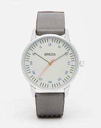 Часы с кожаным серым/черным ремешком Breda Rothko - Коричневый