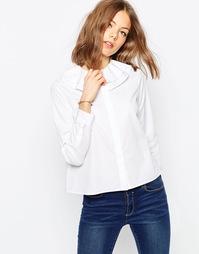 Белая рубашка с рюшами на воротнике ASOS - Белый