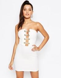 Платье в стиле милитари с глубоким вырезом Rare London - Белый