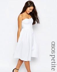 Платье миди с лифом-бандо ASOS PETITE - Белый