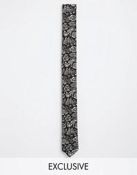Узкий галстук с принтом пейсли Reclaimed Vintage - Черный