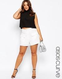 Белые шорты с накладными карманами ASOS CURVE - Слоновая кость