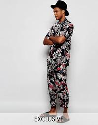Пляжные брюки с цветочным принтом Reclaimed Vintage - Темно-синий