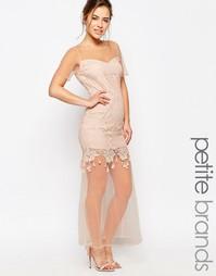 Кружевное платье макси с полупрозрачной кромкой Maya Petite - Телесный