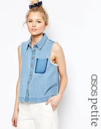 Джинсовая рубашка без рукавов с необработанными краями ASOS PETITE