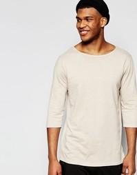 Бежевая меланжевая трикотажная футболка с рукавами 3/4 ASOS - Бежевый