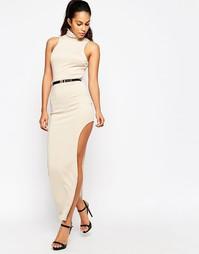 Платье макси с разрезом и металлическим ремнем Girl in Mind